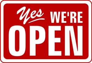Yes! We're Open sign.
