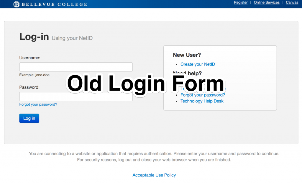 Screenshot of old BC login form