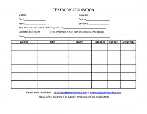 Textbook Requistion Form