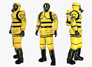 three people in Hazmat uniforms